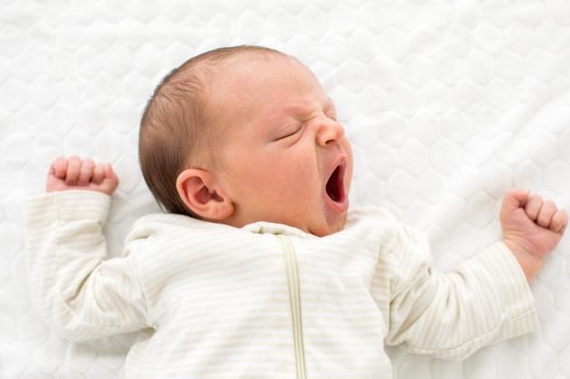 Yawning sleep baby